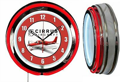 """Cirrus Aircraft Red 19"""" Double Neon Clock Red Neon Chrome Finish"""