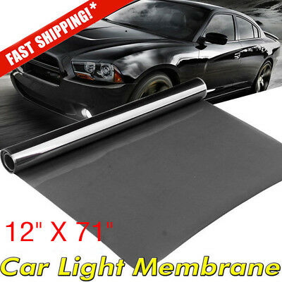 "12*71"" Black Auto Car Headlight Taillight Fog Light Tint Film Vinyl Wrap Covers"