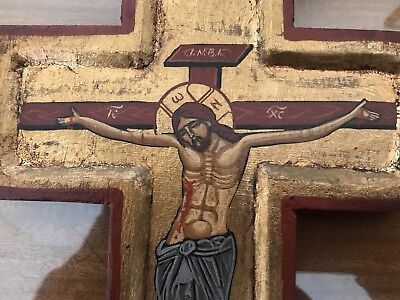 Greek Orthodox Wood Crucifix Icon Gold Leaf Hand Painted From Greece