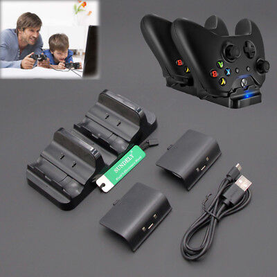 For Xbox One Dual Charging Dock Controllers Charger+2PCS Rechargeable Batteries