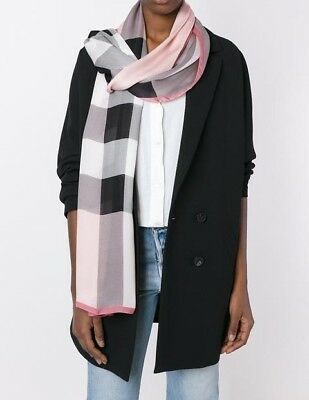 Burberry Lightweight Check Silk Scarf in Ash Rose - $450