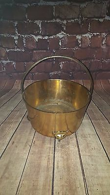 Antique Vintage Brass Bucket Pot Fire Coal Handle Planter Jardiniere feet