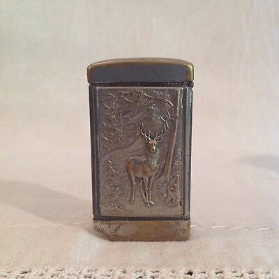 1880s Match Safe With Cigar Cutter, Embossed Elk & Forest Scene On Front