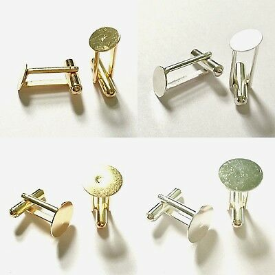 10 Cufflink Blanks Round Flat Pad 9mm 10mm 12mm 13mm 15mm Findings