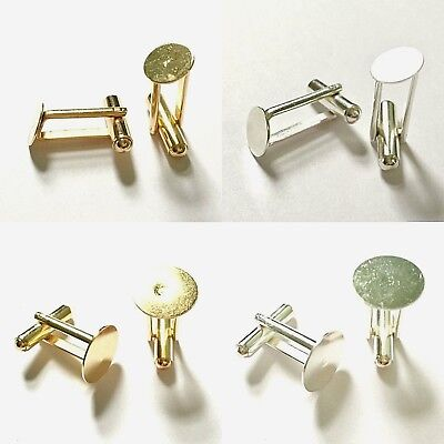 10 Cufflink Blanks Round Flat Pad 9mm 12mm 13mm 15mm Findings