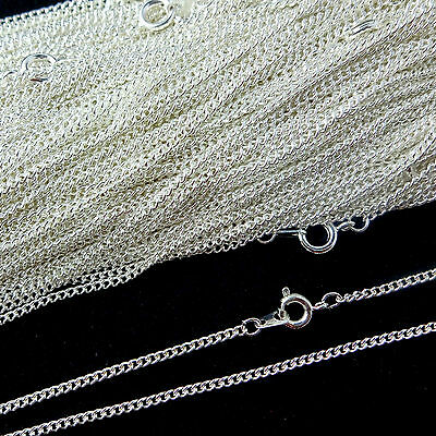 Top Quality Silver Plated Necklace Curb Chain 16 18 24 Inch