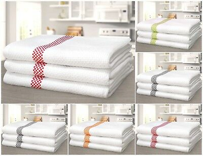 Luxurious Pack Of 3 Soft Waffle Tea Towels 100% Cotton Machine Washable Kitchen