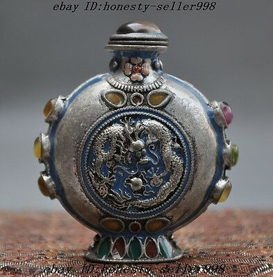 old chinese silver inlay gems fengshui dragon phoenix lucky statue snuff bottle