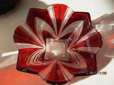"""12"""" Ruby Red And Clear Crystal Ribbed Bowl Made In Japan Beautiful Must See!!!"""