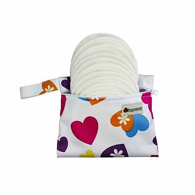 Washable Organic Bamboo Nursing Pads 10 Pack 4-Layer 12CM with Carry Bag Reus...