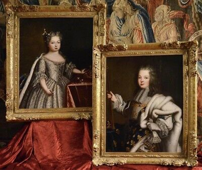 Exceptional Pair of 18th Century Paintings Louis XV Marie and Leszcynska
