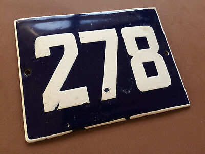 ANTIQUE VINTAGE ENAMEL SIGN HOUSE NUMBER 278 BLUE DOOR GATE STREET SIGN 1950's