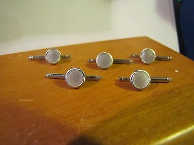 5 Elegant Round Silver Tone Vintage Mother Of Pearl Shirt Studs