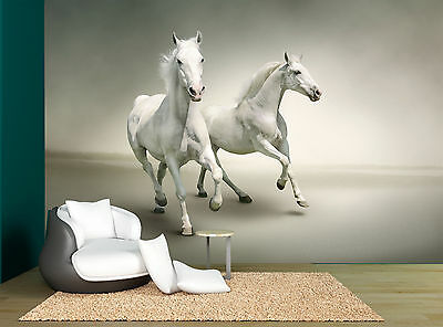 White And Grey Two Horses Wall Mural Photo Wallpaper GIANT WALL DECOR