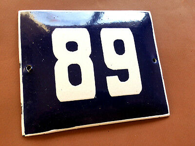 ANTIQUE VINTAGE ENAMEL SIGN HOUSE NUMBER 89 BLUE DOOR GATE STREET SIGN 1950's