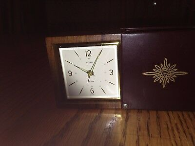 Vtg Florn Travel Alarm Clock Leather & Wood Mechanical Wind Up Luminous Numbers
