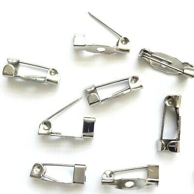 40 Silver Plated Brooch Back Pins 25X5mm Jewellery Making Findings