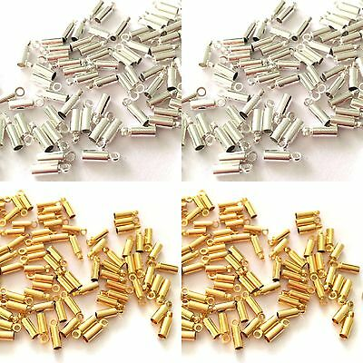 100 Cord End Necklace End Crimp End Gold Plated/Silver Plated hole 1.5mm 2.5mm
