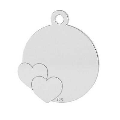 Sterling Silver Disc Pendant with two Hearts 15mm For Engraving