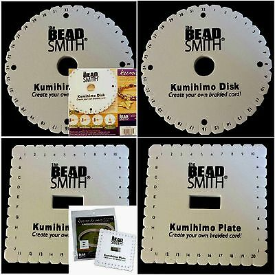 Beadsmith Kumihimo Braiding Disk Plate 6 inch Large Square Round+Instructions