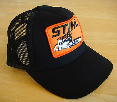 the latest 01bea 6d790 Stihl Black Trucker Style Hat   Cap with Orange Chainsaw Stihl Patch