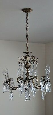 Beautiful Vintage Antique Brass Chandelier with 60+ Crystals