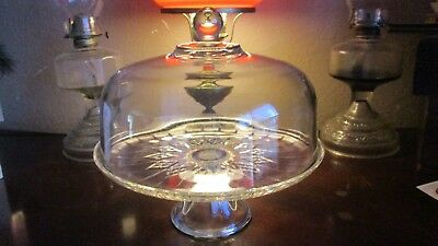Antique Vintage Large Glass Pedestal Footed Cake Plate & Dome Lid 13""