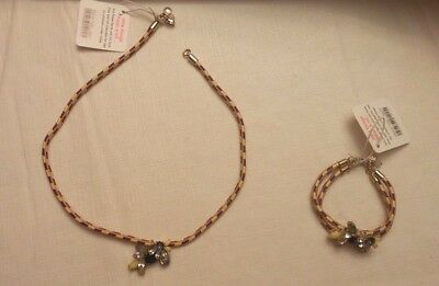 J Crew Crewcuts Matching Necklace & Bracelet w/ Flower Like Pendant on Cord NWT