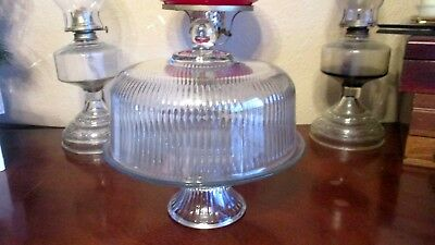 "Antique Vintage Large Glass Pedestal Footed Cake Plate & Dome Lid 11"" Tall"