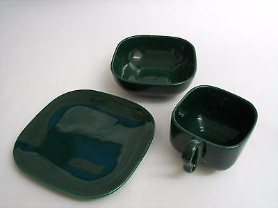 Franciscan Tiempo Mid Century Modern Green 3 piece set Cup, Bowl & Plate Rare