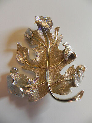 Brooch Scarf Pin Pendant VTG Silver Tone Metal Oak Leaf Sarah Coventry Jewelry