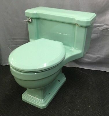 Vtg Jadeite Ming Green 1 Piece American Standard Toilet Old Plumbing 813-17E