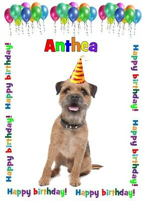 A5 Personalised birthday card Boarder Terrier dog any name/age/relation