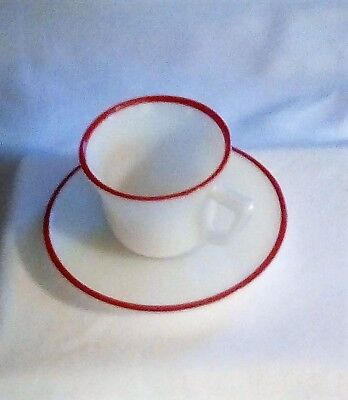 RARE Vintage Hazel Atlas Childs Toy Cup and Saucer Set - WHITE w RED RIM