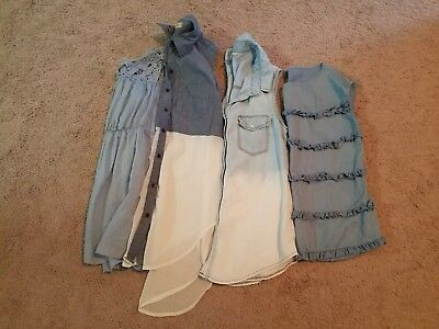 ☆LAST CHANCE☆ Lot of 4 Women's Blue Summer Tops Size Small