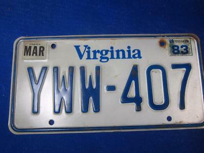 Virginia 1983 License Plate YWW 407 Auto Transportation