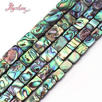 "Natural Rectangle Mutil-Color Abalone Sea Shell Rainbow Stone Loose Beads 15""DIY"