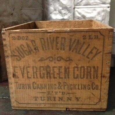 Antique Sugar River Valley Wood Box Evergreen Corn Vintage Crate Turin Ny