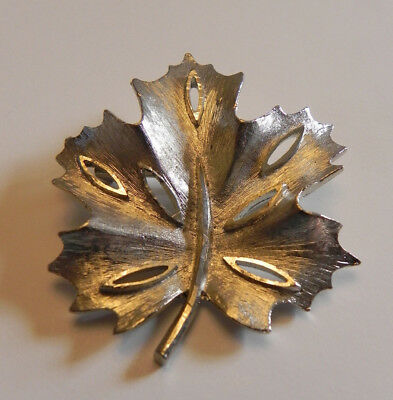 BSK Brooch Scarf Pin Pendant VTG Silver tone plate Maple Leaf Signed Jewelry