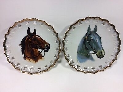 Vintage Lot Of 2 Horse Equestrian Collectible Hanging Plates Japan By Brinn