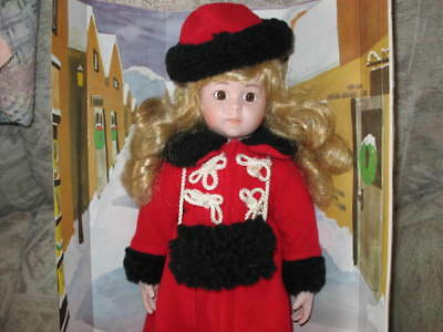 "New Porcelain Doll 17"" with Stand, Red Coat, Muff, Hat, Holiday Doll, NIB"