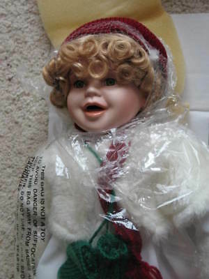 "New Porcelain Doll 17"" with Sled and Snowman, Ice Skating Doll, NIB, Holidays"