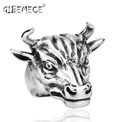 Cool Bull Ring Stainless Steel Punk Biker Silver Color Animal Jewelry Man Gift