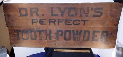 RARE Antique Primitive Advertising Dr. Lyon's Perfect Tooth Powder Wood Sign