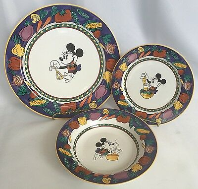 DISNEY Minnie Mouse 3 PC Set Dinner Luncheon Plate Bowl Vegetable Edge Mickey & DISNEY MICKEY Mouse \