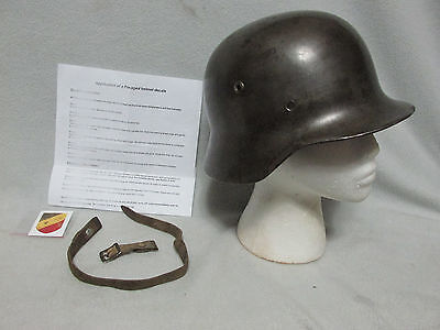 RARE M35 Size ET60 German Helmet Shell w Chin Strap & Decal Military Medal USA