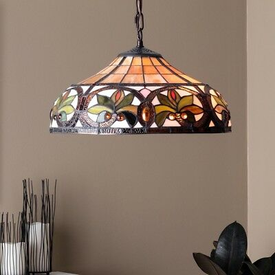 Tiffany style Hanging Lamp Dining Room Stained Glass Victorian Bronze Finish