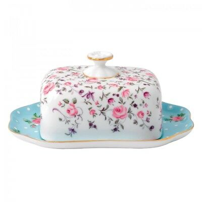 Royal Albert New Country Roses Tea Party Mixed Patterns Covered Butter Dish NEW
