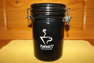 Barnies Coffee Canister Black With Stainless Steel Spoon Lock Tight Lid