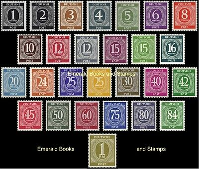 EBS Germany 1946 Allied Occupation Numerals set Michel 911-937 MNH**